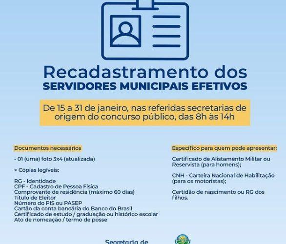 RECADASTRAMENTO SERVIDORES - ANADIA - 2021