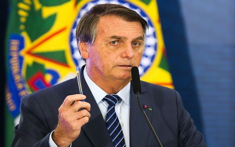 O presidente Jair Bolsonaro discursa durante abertura da Semana das Comunicações no Palácio do Planalto.