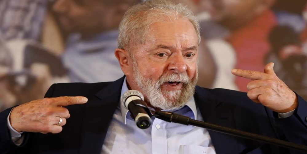 Former Brazilian President Luiz Inacio Lula da Silva speaks at the Metalworkers Union headquarters in Sao Bernardo do Campo, Sao Paulo state, Brazil, Wednesday, March 10, 2021, after a judge threw out both of his corruption convictions. (AP Photo/Andre Penner)